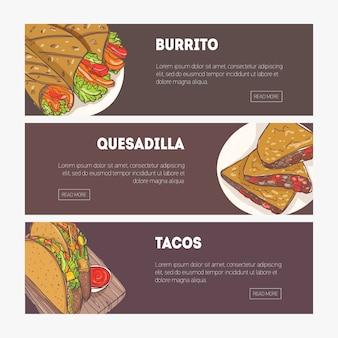 Coleção de banners web horizontais com várias refeições tradicionais mexicanas e lugar para texto