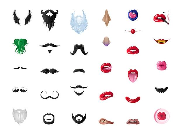 Coleção de barbas, lábios sedutores femininos, bocas. máscaras engraçadas.