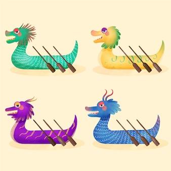 Coleção de barco dragão aquarela