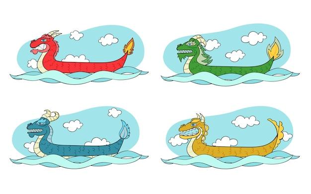 Coleção de barco dragão desenhado à mão