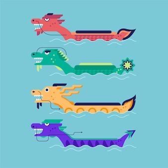 Coleção de barco dragão design plano