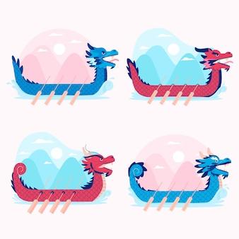 Coleção de barco dragão mão desenhada