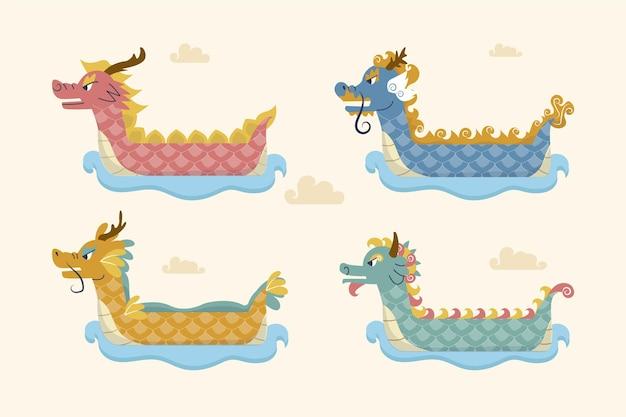 Coleção de barco dragão plano orgânico