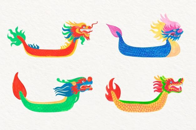 Coleção de barcos de dragão em aquarela na água