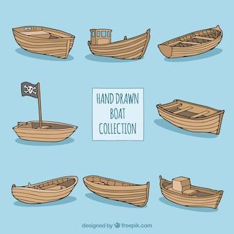 Coleção de barcos de madeira desenhados à mão