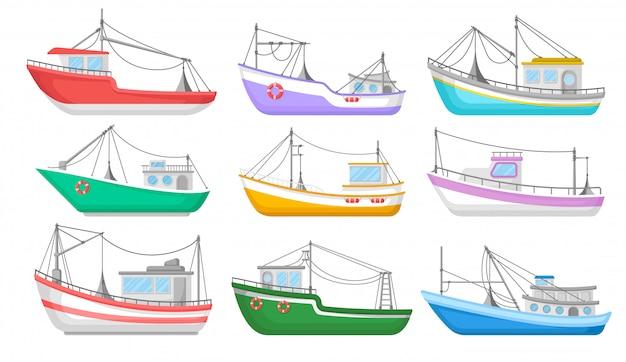 Coleção de barcos de pesca coloridos. ilustração plana isolada