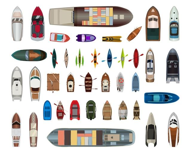 Coleção de barcos e iates.