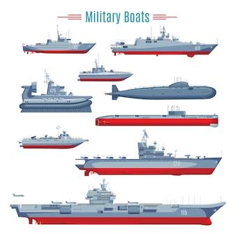 Coleção de barcos militares