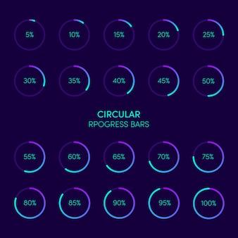 Coleção de barra de carregamento de progresso circular futurista moderno e buffer