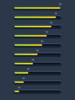 Coleção de barra de carregamento de progresso futurista moderno e buffer