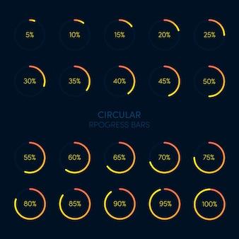 Coleção de barra de carregamento e armazenamento de progresso circular futurista moderna