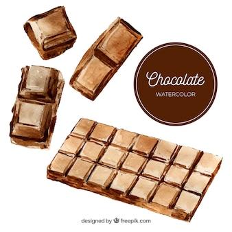 Coleção de barras de chocolate de mão desenhada