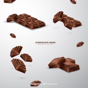 Coleção de barras de chocolate em estilo realista