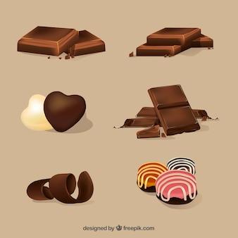 Coleção de barras de chocolate realistas
