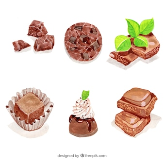 Coleção de barras de chocolate