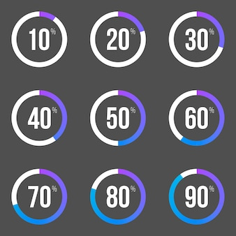 Coleção de barras de progresso redondas. elementos de gráfico de pizza.