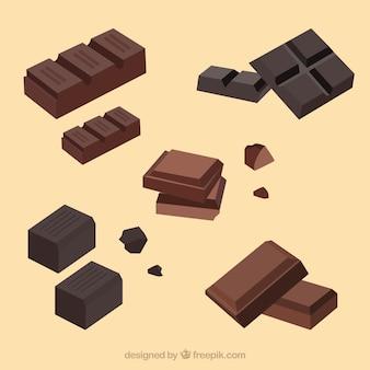 Coleção de barras e pedaços de chocolate com diferentes formas e sabores