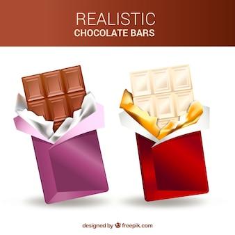 Coleção de barras e pedaços de chocolate em estilo realista