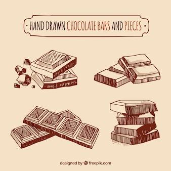 Coleção de barras e pedaços de chocolate