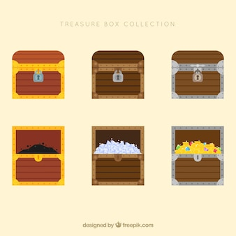 Coleção de baú de madeira com design plano