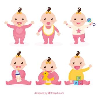 Coleção de bebês com poses diferentes