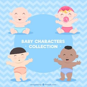 Coleção de bebês em estilo desenhado a mão