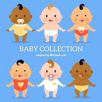 Coleção de bebês em estilo plano
