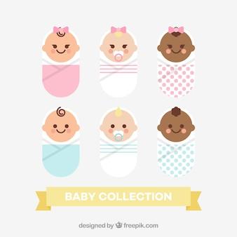Coleção de bebês fofos em estilo plano