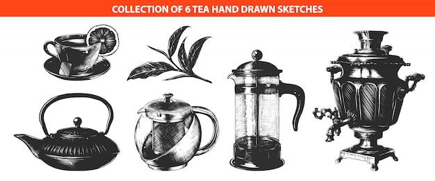 Coleção de bebida de chá de estilo gravado