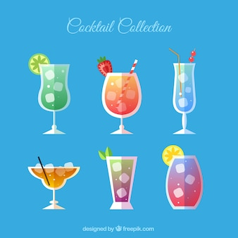 Coleção de bebida de verão em design plano