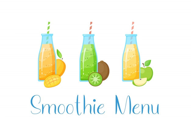 Coleção de bebida saudável smoothie da fruta crua