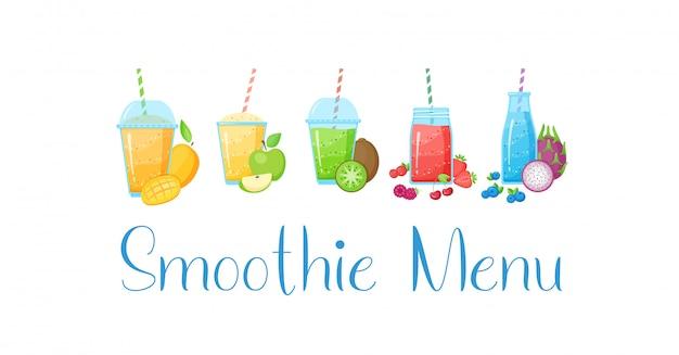Coleção de bebida saudável smoothie de frutas cruas