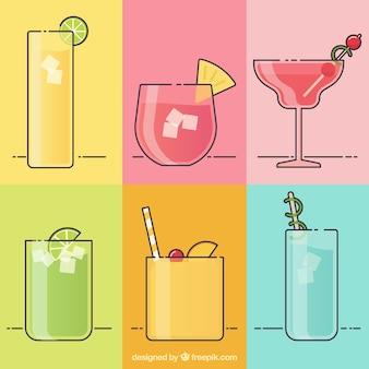 Coleção de bebida tropical em estilo linear