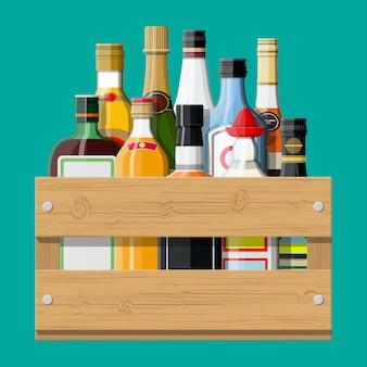 Coleção de bebidas de álcool em caixa