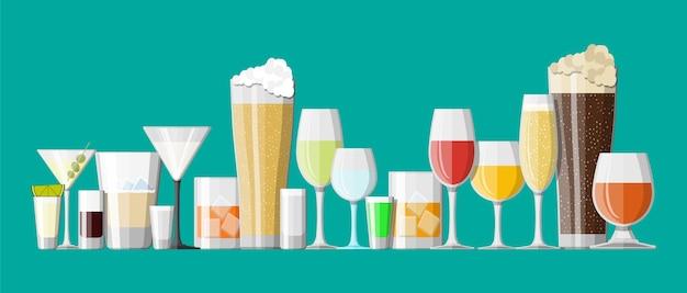 Coleção de bebidas de álcool em copos.