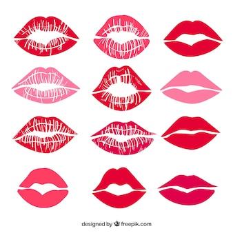 Coleção de beijos de batom na cor vermelha e rosa