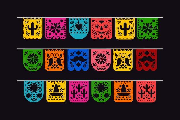 Coleção de belas bandeiras mexicanas