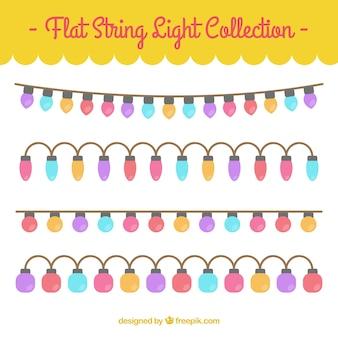 Coleção de belas guirlandas com luzes coloridas