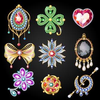 Coleção de belas joias coloridas de desenho animado