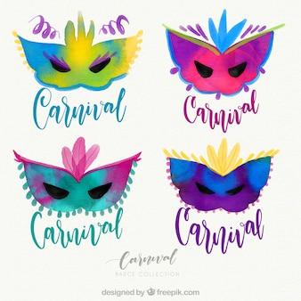Coleção de belas máscaras de carnaval desenhadas a mão