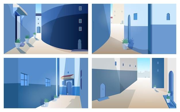 Coleção de belas paisagens de marrocos com paredes de construção, portas de formato tradicional, plantas ao ar livre crescendo em vasos. conjunto de vistas deslumbrantes da rua da antiga cidade marroquina. ilustração vetorial.