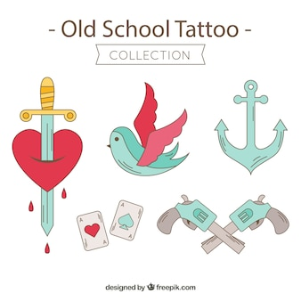 Coleção de belas tatuagens retro desenhadas a mão