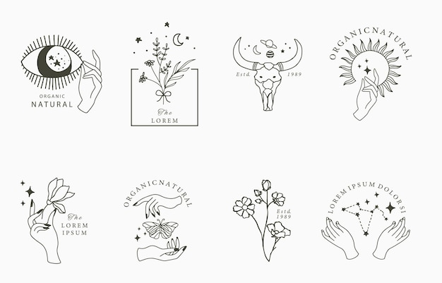 Coleção de beleza boho com mão, eyey, borboleta, flor, estrela.