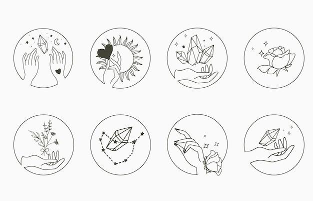 Coleção de beleza oculta com mão, geométrica, cristal, lua, flor, estrela.