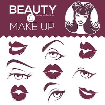 Coleção de beleza retrô, garota pin-up, lábios, olhos
