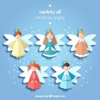 Coleção de belos anjos do natal no design plano