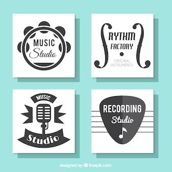 Coleção de belos cartões para um estúdio de música