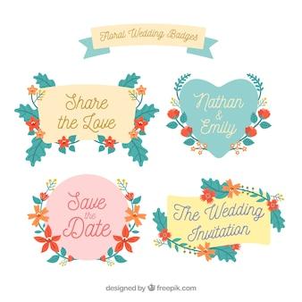 Coleção de belos emblemas de casamento