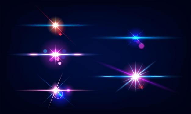 Coleção de belos flares de lente brilhantes