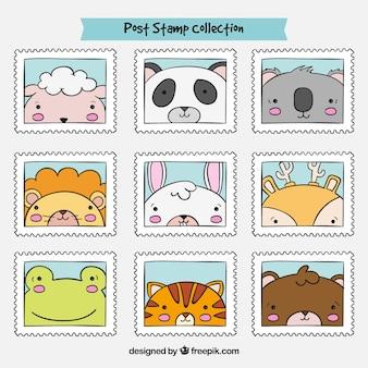 Coleção de belos selos de animais desenhados à mão